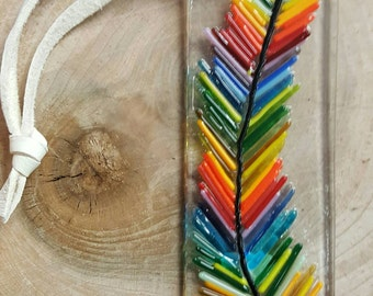 Fused glass Feather, boho, hippie,  style suncatcher, wall decor