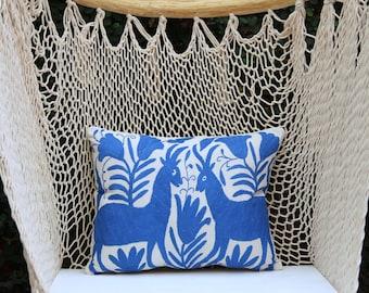 Blue Folk Art Pillow Sham-Otomi Embroidery Ready to ship.