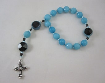 Teal Agate and Black Czech Glass Prayer Chaplet