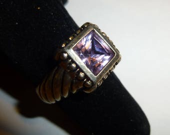 """Sterling Silver & Purple Stone Statement Ring. Size 7.5. Signed """"MO"""" Vintage 1980s."""