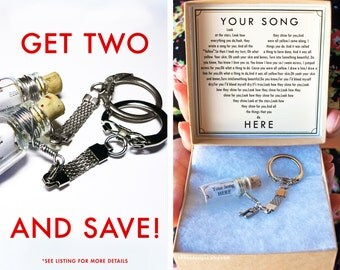 Two Bottle Keychains and SAVE!  - Valentine's Day Gift - Anniversary Personalized Message - Song - Gift Wrapped - Coldplay - Fast Shipping!