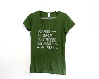 VEGGIE WISDOM Tee. Sustainable Tee. Punny Tshirt. Funny Puns Shirt. Gifts for Her. Gifts for Gardeners. Funny Shirt Veggie Farmer Print.