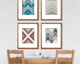 Mid Century Geometric Chevron Patterns - Set of 4 Art Prints (Featured in Distressed Biscay Bay,  Desert Sage, Marsala, Stormy Weather)