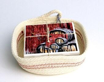 Rustic Wine Decor, Coaster Set, Rope Basket, Set of 4,  Hostess Gift, 4X4, Ceramic Tile