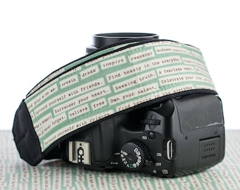 Camera Strap 001, dSLR, Happy Thoughts, Pocket, Inspirational, Quotes, SLR Camera Strap, Canon, Nikon, Camera Neck Strap, Photographer