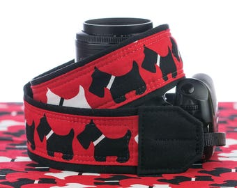 dSLR Camera Strap, Pocket, Scottie Dog, Scottish Terrier, Red White Black, Camera Neck Strap, SLR, Canon, Nikon, 073