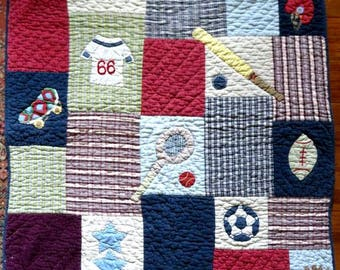 "BOYS GIRLS QUILT 51""x39"" vintage sports theme,baseball,tennis,football,skating,bed throw,cotton applique,blue,red,green,navy,brown,maroon"