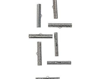 50pcs.  35mm (1 3/8 inch)  Gunmetal Ribbon Clamp End Crimps - Artisan Series