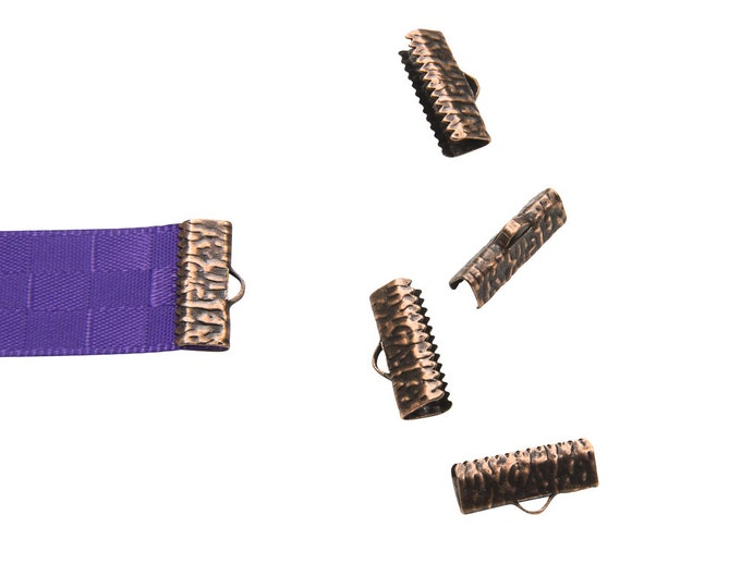 16 pieces 16mm  (5/8 inch)  Antique Copper Ribbon Clamp End Crimps - Artisan Series