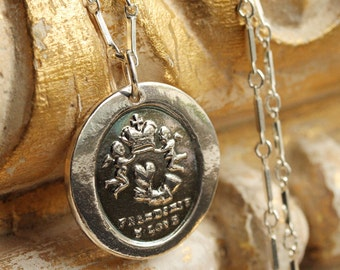 Friendship and Love Victorian Wax Seal Necklace - Fine Silver, Sterling Silver