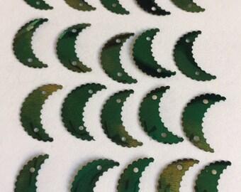 Vintage Crescent Moon Sequins - Metallic  Green