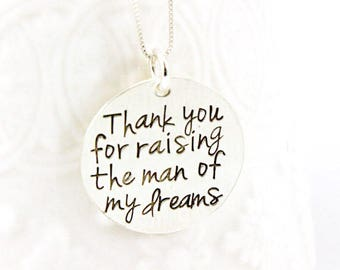 Thank You for Raising the Man of My Dreams - Mother of the Groom - Mother in Law - Wedding Gift - Wedding Jewelry - Personalized Jewelry