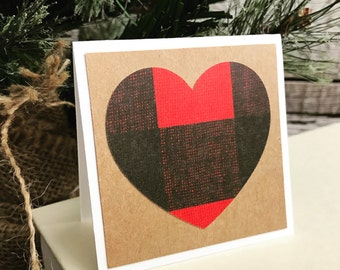 Buffalo Plaid Mini Note Cards  - Set of 5 with Envelopes - Rustic Valentines Day card with buffalo plaid heart - All Occasion Gift Set