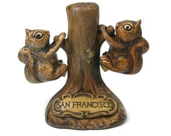 Vintage Squirrel Salt and Pepper Set San Francisco Souvenir Ceramic Tree with Squirrels