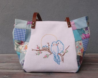 Woodland Budgies Birds Bag - Vintage Embroidery, Blue and Pink Patchwork and Leather Bag.