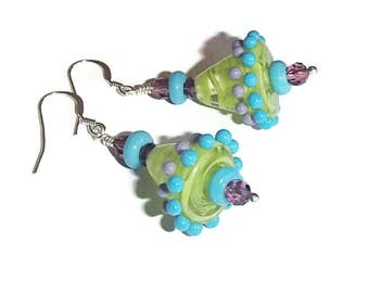Lampwork Glass Earrings  Purple Green Turquoise Spring Colors Boho Whimsical Cone Shaped