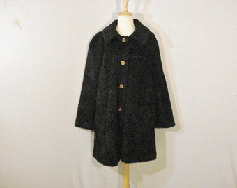 Black Coat Susan Lynn Vintage Chic Curly Wool Chic Glam Opulent Coat Outerwear ML