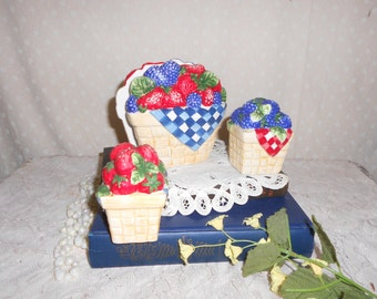 Strawberry and Blackberry  Salt and Pepper Shakers with matching napkin holder