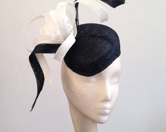 Black & White Flower Twist Beret - Great hat for Wedding guests and the Races can be made in other colours