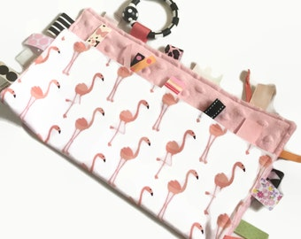 Baby Girl Blanket with Ribbon Tags - Tag Blanket - Pink Flamingo -