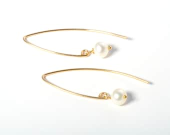 Pearl Earrings, Pearl Drop Earrings, Long Pearl Earrings, Freshwater Pearl Earrings, Gold Earrings, Delicate Gold Earrings, Threader Earring