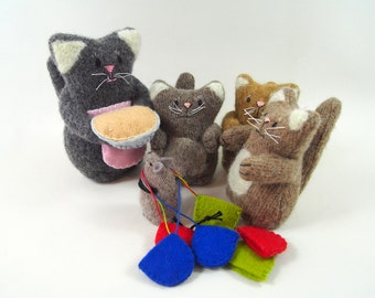 toy cat, waldorf cat, kittens with mittens, wool cat, child's toy,