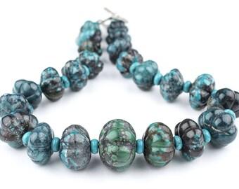 22 Flower-Shape Authentic Turquoise Beads: Turquoise Gemstone Genuine Gemstone Big Stone Beads Blue Stone Beads Decorative Beads (TRQ-112)