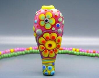 Pretty Pink - Art Glass by Michou P. Anderson - ( Label: Sonic & Yoko )