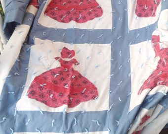 Vintage Handmade pink and blue hand knotted Sunbonnet ladies quilt bedspread coverlet