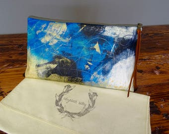 Painted Clutch, Painted Bag, Painted Purse, Canvas Bag, Canvas clutch, Unique, Statement Clutch, One of a Kind Bag with Dust Cover
