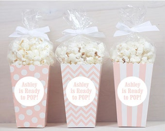 12 Custom Popcorn Box Favors - Baby Shower Favors - Personalized Boxes - Popcorn Favors - Light Peach Popcorn Boxes - Baby Girl Favors