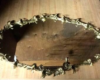 Vintage Ormolu Mirror Tray, Vanity Mirror Tray, Hanging Gilt Mirror Tray