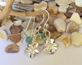Sterling silver plumeria earrings with Pacific Opal Swarovski crystal accent