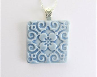 Porcelain Art Pendant, Baby Blue Floral Necklace, Blue Square Ceramic Necklace, Mothers Day Gift, Teacher Gift, Hostess Gift, Unique Jewelry