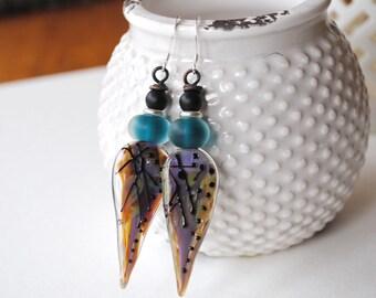 Abstract Earrings, Elongated Teardrop, Lampwork Glass Earrings, Teal Earrings, Artisan Earrings,