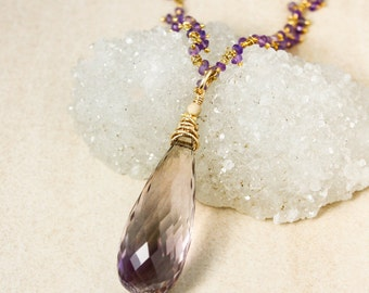 Gold Purple Ametrine Teardrop Necklace on Purple Amethyst Chain - Layering Necklace