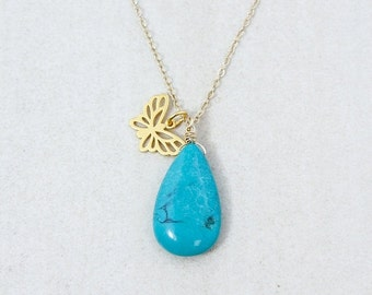 CHRISTMAS SALE Gold Natural Turquoise & Butterfly Charm Necklace - Boho Necklace - 14K Gf