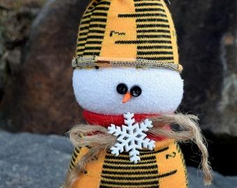 SOCK SNOWMAN BEANBAG - Poly Pellet Filled - No Rice - Teacher Hostess Gift - Home Christmas Winter Holiday Decoration - Measuring Tape Ruler