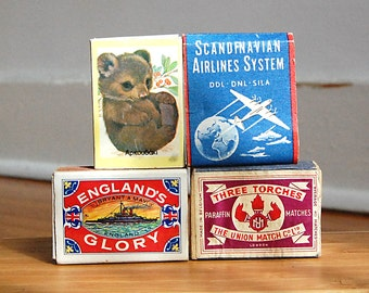 Instant Collection of Vintage Matchbook Matchbox Retro European Assortment Great Graphics.