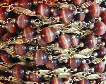 Vintage Cateye Glass & Brass Beaded Chain Length • by the Foot