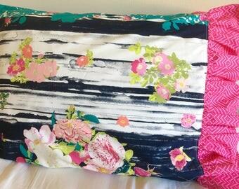 Navy Floral Ruffled Pillowcase, Beautiful Pillowcase, Hot Pink Pillowcase, Pillow for Girl Bedding, Twin Bedding, Queen Bedding