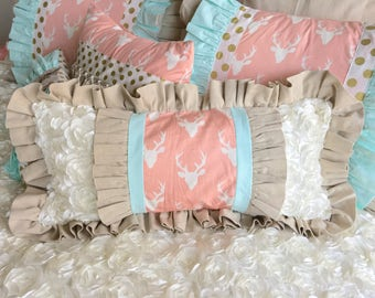 Medium Lumbar Pillow, Boho Chic Lumbar, Pink Deer Accent Pillow, Mint Pillow, Children's Bedding Pillow, Girl's Pillow, Girl's Accent Pillow