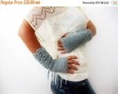 SALE Silver Sparkled Fingerless Gloves, Chic Gloves, Fingerless Gloves Wedding Gloves Grey Crochet Gloves Knit Gloves, Texting Gloves, Finge