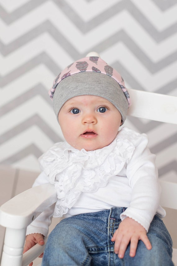 Pink and Gray Feather Baby Hat, Beanie