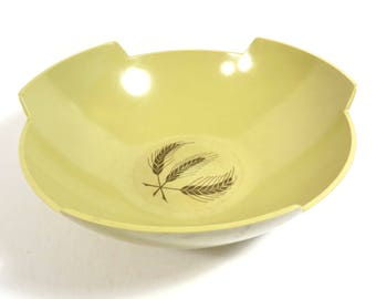 Melmac Yellow With Wheat Round Serving Bowl Vintage 1960s 1970s Mid Century Modern Bowl