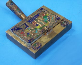 Antique Chinese Enameled Brass Silent Butler ~ Crumb Catcher~ Ash Tray with Handles / 1930's