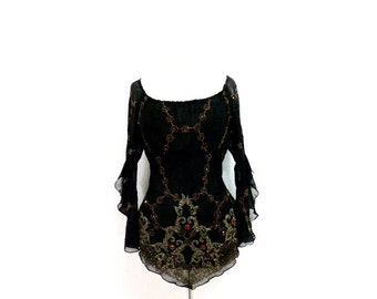 Vintage  Beaded Silk Black Blouse Ruffled Sleeve Top Great Gatsby 1920's Evening  Blouse Size L