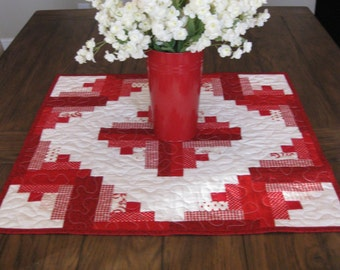 Red Log Cabin Quilted Table Topper