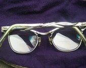 Vintage 50's Silver Metal Cateye Reading Eye Glasses 12K Gold Filled