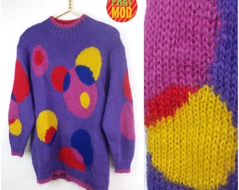 Pop Polkadot Bubble Circles Purple, Pink, Yellow and Red Pullover Vintage 90s Sweater!
